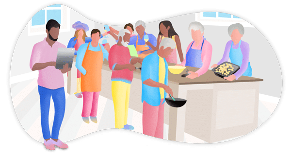 Illustration of senior living residents cooking in kitchen